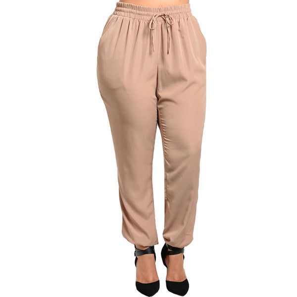 Shop The Trends Women's Plus Joggers with Stretch Drawstring Waistband