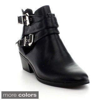 Reneeze BEAUTY-04 Women's Buckle Chunky Heel Ankle Bootie