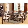 Furniture of America Descani 9-Piece Brown Cherry Dining Set with Leaf