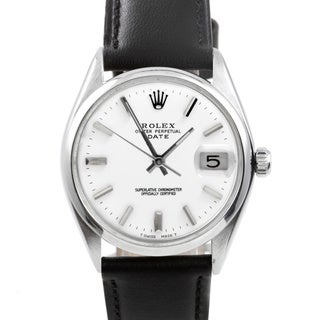 Pre-owned Rolex Men's 1500 Date Watch White Dial and Black Leather Strap Watch