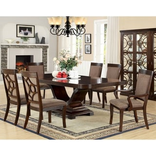 Furniture of America Woodburly 7-Piece Dining Set with Leaf
