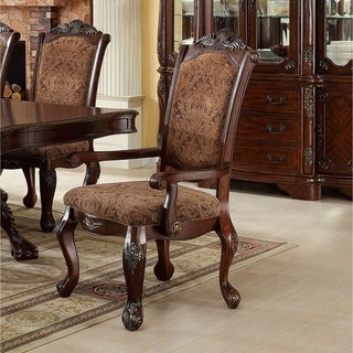 Furniture of America Eiko Antique Cherry Elegant Arm Chair (Set of 2)