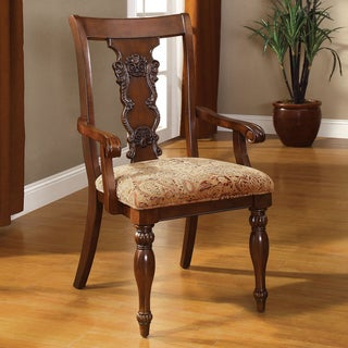 Furniture of America Ella Dark Oak Accent Arm Chair (Set of 2)