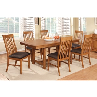 Furniture of America Oakerly 7-Piece Dining Set with 18-inch Leaf