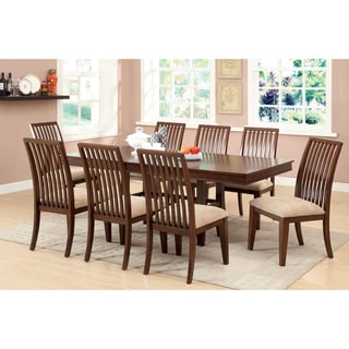 Furniture of America Morottia 9-Piece Transitional Dining Set with 18-inch Leaf