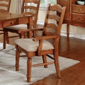 Furniture of America Midvale American Oak Arm Chairs (Set of 2)