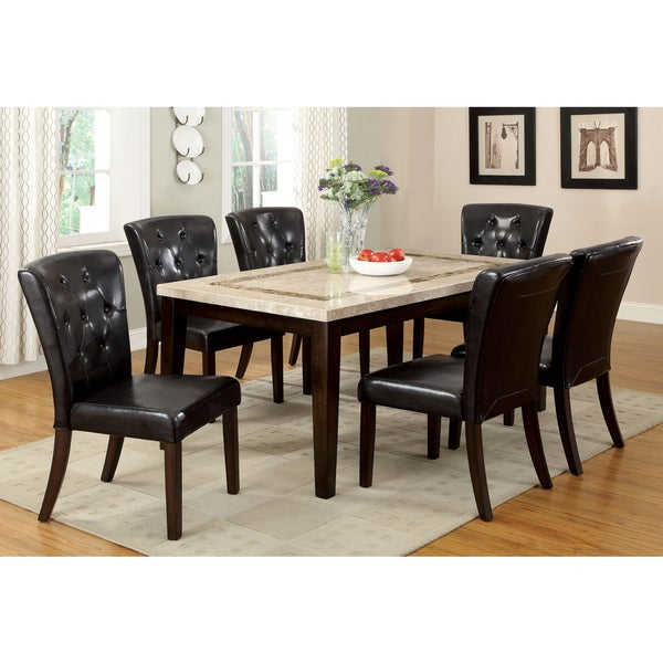 Furniture Of America Charisole 7 Piece Genuine Marble Dining Table Set