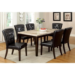 Furniture of America Charisole 7-Piece Genuine Marble Dining Table Set