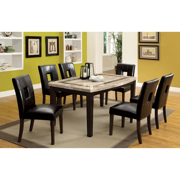 Of America Charisole 7 Piece Genuine Marble Oval Dining Table Set