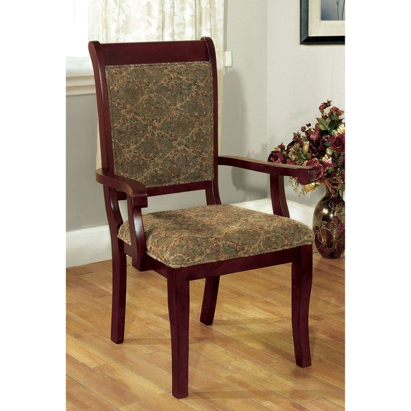 Leahlyn Reddish Brown Arm Chair Set Of 2: Furniture Of America Ravena Antique Cherry Printed Arm