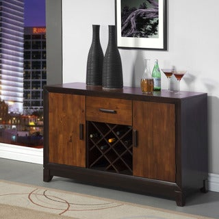 Furniture of America Isa Acacia and Espresso Server with Wine Rack