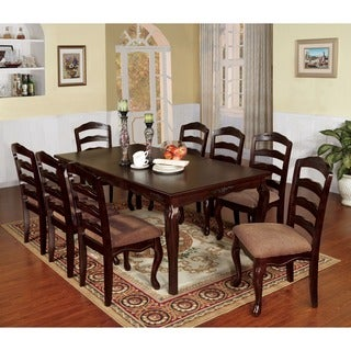 Furniture of America Le Deveaux 9-piece Dark Walnut Dining Set with Leaf