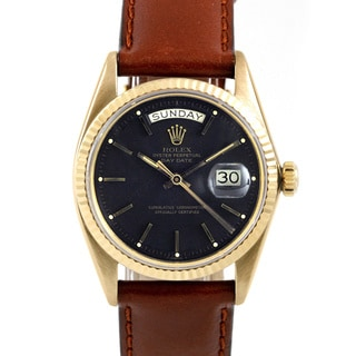Pre-owned Rolex Men's Presidential Brown Leather Automatic Watch