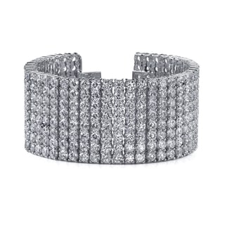 14k White Gold 36ct TDW 8-row Pave Diamond Bracelet (F-G, SI2-SI3)