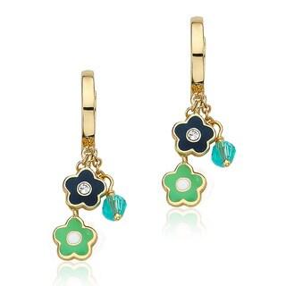 Little Miss Twin Stars 14k Goldplated Enamel Flower/ Blue Crystal Cluster Hoop Earrings