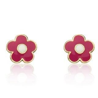 Little Miss Twin Stars 14k Goldplated Hot Pink Flower Stud Earrings