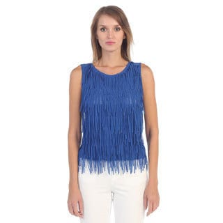 Hadari Women's Cobalt Blue Sleeveless Fringe Blouse