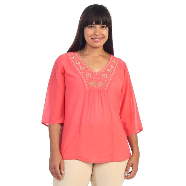 Hadari Women's Plus Size Coral V-neck 3/4-sleeve Blouse