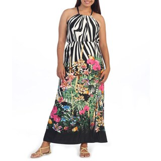 Hadari Women's Plus Size Black Floral Print Maxi Dress