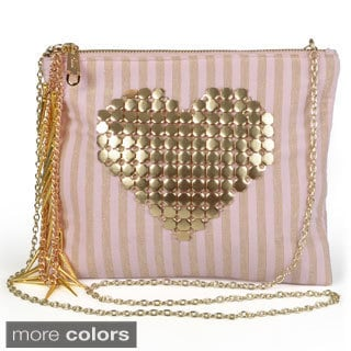Journee Collection Women's Fabric Heart Clutch