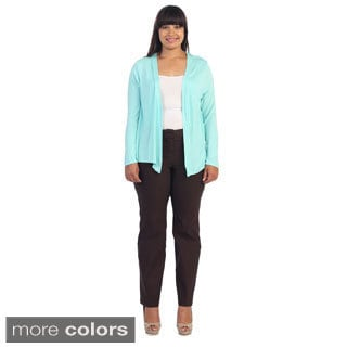 Hadari Women's Plus Long Sleeve Cardigan