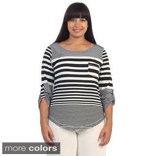 Hadari Women's Plus Size Striped 3/4-sleeve Top