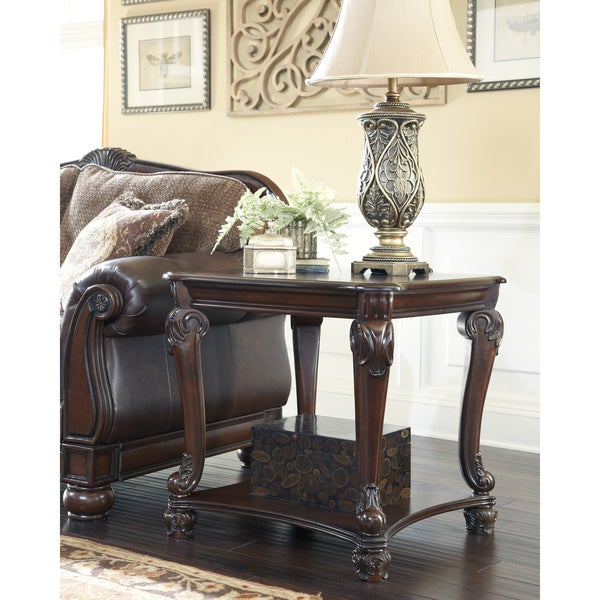 Ashley Coffee End Tables: Signature Designs By Ashley 'Norcastle' Square Dark Brown