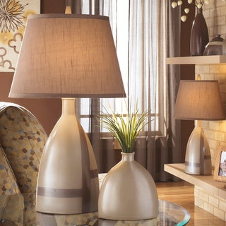 Signature Designs by Ashley Mia Beige Brown Ceramic Table Lamps (Set of 2)