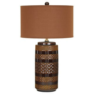 Signature Designs by Ashley Shadeena Browns Ceramic Table Lamps (Set of 2)