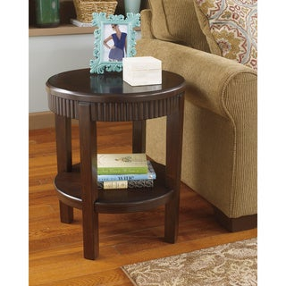 Signature Designs by Ashley Marxmir Round Brown End Table