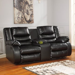 Signature Design by Ashley Linebacker DuraBlend Black Double Reclining Loveseat with Console