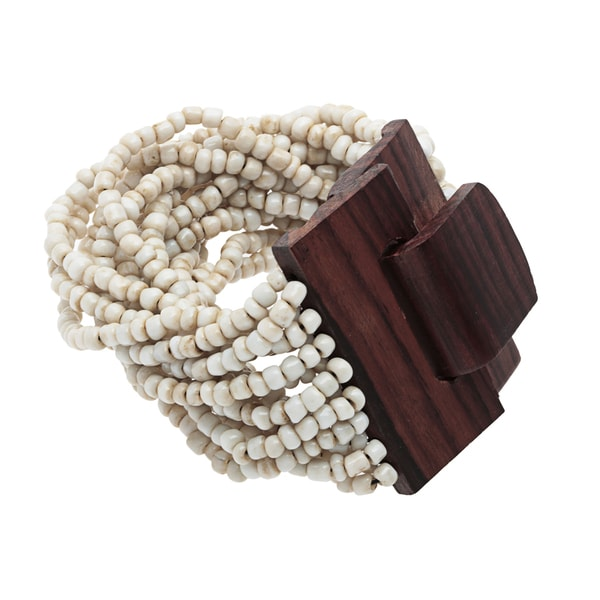 Tropical Cream Glass Bead Stretch Bracelet