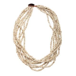 Tropical Cream 8-strand Glass Bead Necklace