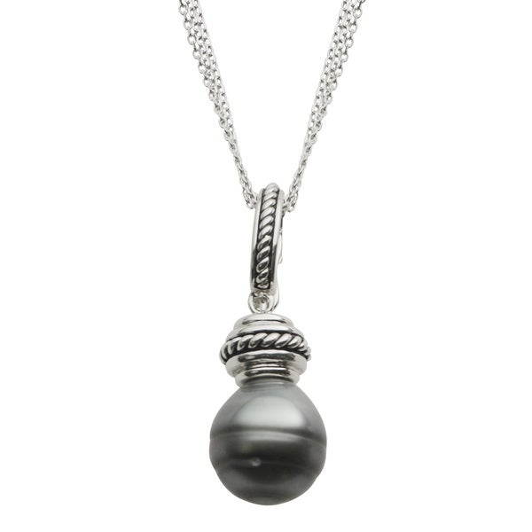 Pearls For You Sterling Silver Triple-strand Oxidized Tahitian Pearl Necklace (12-13 mm)