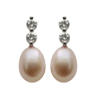 Pearls for You Sterling Silver Dyed Pink Freshwater Pearls/ White Topaz Earrings (7-7.5 mm)