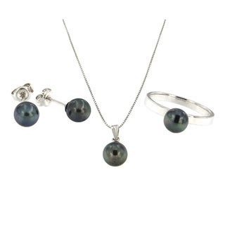 Sterling Silver Black Freshwater Pearl 3-piece Jewelry Set (7-8 mm)