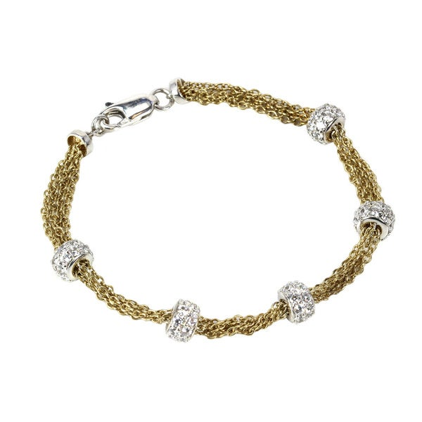 Sonia Bitton Platinum and Goldplated Sterling Silver Cubic Zirconia Station Bracelet