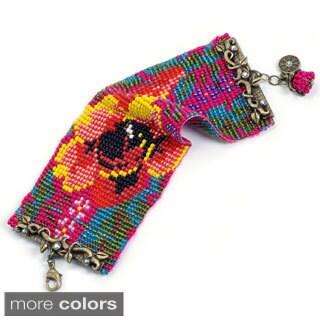 Sweet Romance Loom-beaded Floral Tapestry Bracelet