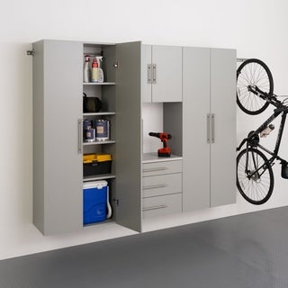 Stone Grey Laminate 4-piece Storage Cabinet Set