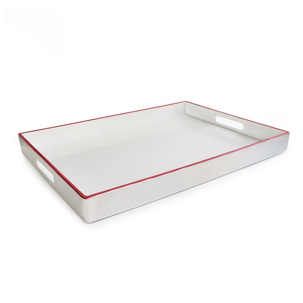 White With Line Rectangular Tray with Handles