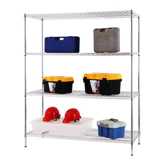 Excel 4-Tier 60-inch Wide Chrome Shelving Rack