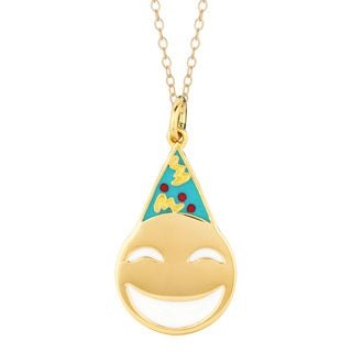 Yellow Goldplated Sterling Silver Party Face Emoticon Pendant Necklace