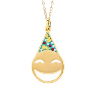 Yellow Goldplated Sterling Silver Crystal Party Face Emoticon Pendant Necklace