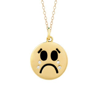 Yellow Goldplated Sterling Silver Crystal Crying Face Emoticon Pendant Necklace