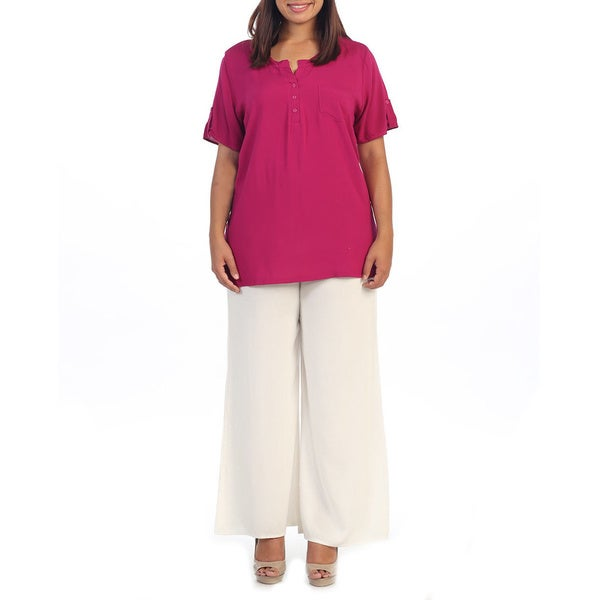 Hadari Women's Plus Fuchsia Short Sleeve Henley Tunic