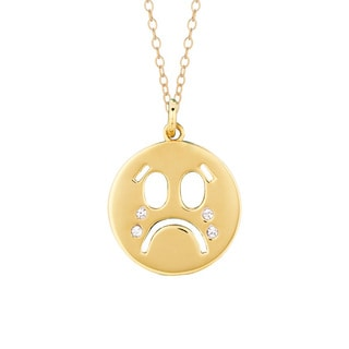 Yellow Goldplated Sterling Silver Crystal Open Crying Face Emoticon Pendant Necklace