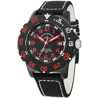 Zeno Men's 6709-515Q-A17 'Divers' Black Dial Black/Red Fabric Strap Watch