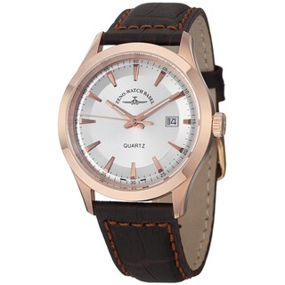 Zeno Men's 6662-515QPGR-F3 'VintageLine' Silver Dial Brown Leather Strap Watch