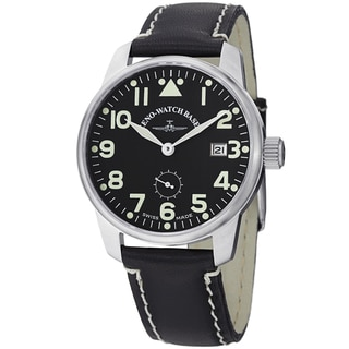 Zeno Men's 4171N-A1 'Navigator' Black Dial Black Leather Strap Limited Edition Watch
