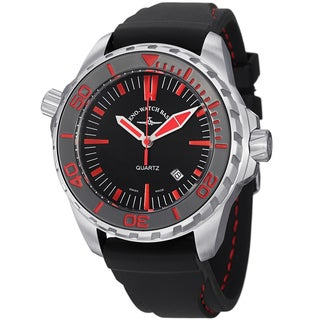 Zeno Men's 6603Q-A17 'Divers' Black Dial Black Rubber Strap Quartz Watch